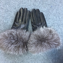 Fashion Genuine Leather Gloves With Silver Fox Fur Cuff Women Leather Gloves