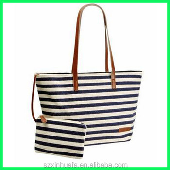 tote bag leather strap stripe canvas handbag sets with leather trim
