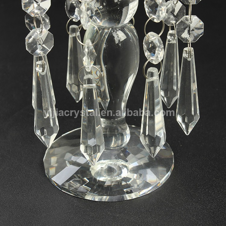 New Products Crystal Candlesticks Crystal Candle Holder with Hanging Crystal Beads