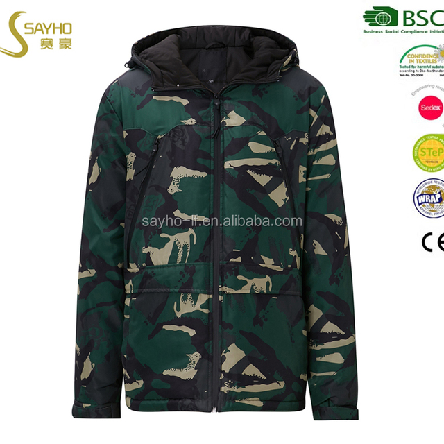 Mens Winter Thick Warm Camouflage Parka Long Thermal Jackets and Coats
