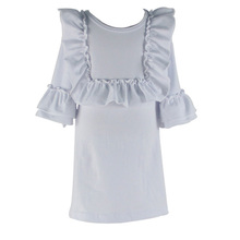 Fashionable baby white solid color ruffle bib cuff short sleeve angel baby cotton summer clothing stunning children smart wear