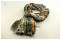 new fashion style shawl 100% linen checked scarf display CX-50