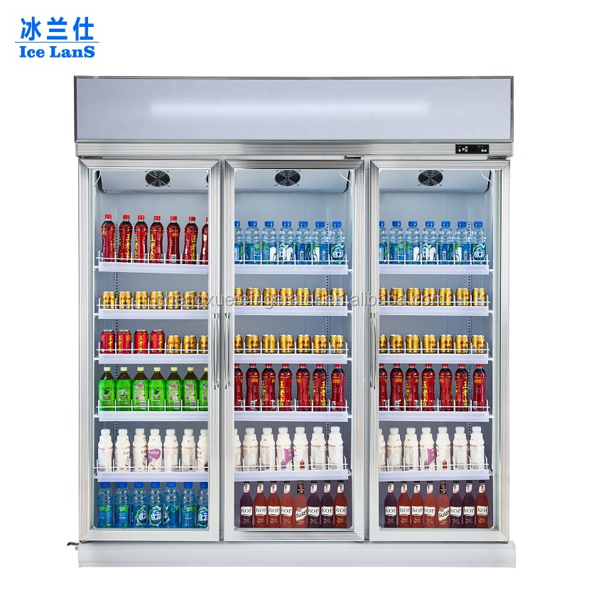 Glass Door Merchandiser Freezer Custom Soft Drink Cooler Merchandising Display