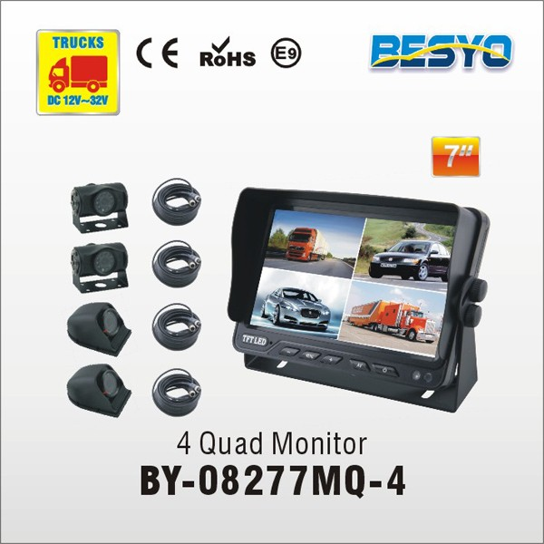 Trucks CCTV reversing kit 7 inch reversing CCTV camera system, 4 quad monitor with camera system BY-08277MQ-4