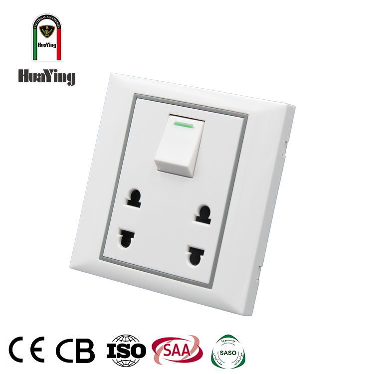 CE SAA CCC 10A 250V plastic white 2 gang 2 pin two pole ellipse sockets with switch