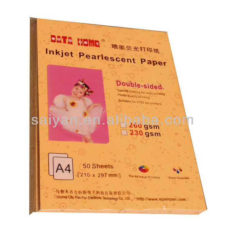 waterproof A4 double sides printing 260gsm green inkjet fluorescent name paper