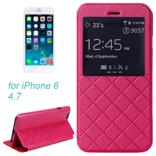 Plaid Texture Horizontal Flip Leather Case with Call Display ID & Holder for iPhone 6