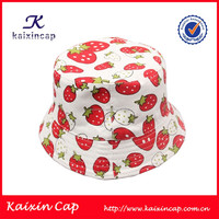 custom 100% polyester fabric strawberry pattern bucket hat