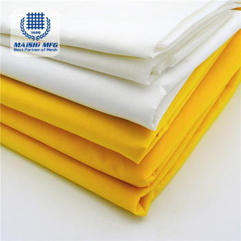 white & yellow 100% polyester screen mesh silk fabric for screen printing