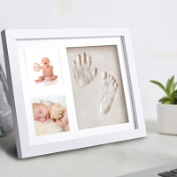 hot sale High quality Family photo frame baby boy girl/wooden baby handprint and footprint frame