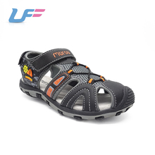 Wholesale wrapped toe black pu leather design new children sandal