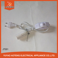 VDE standard 2 pin salt lamp power cord with dimmer switch e14 plastic plate
