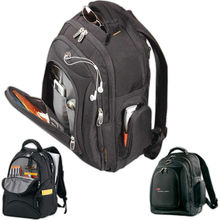 "Neotec laptop backpack. Features a main compartment that holds up to 17"" laptops and comes with your logo."