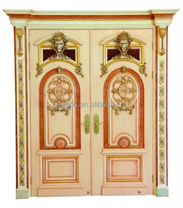 French baroque style gold leaf interior double door palace for French style front door