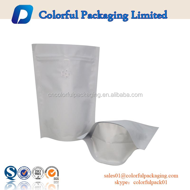 food grade private label resealable aluminum foil packaging bags with valve and zip