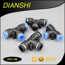plastic quick connect air fittings PUT series Union Tee pneumatic tee fitting