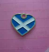 heart shape Scottish flag dog id tag charms wholesale