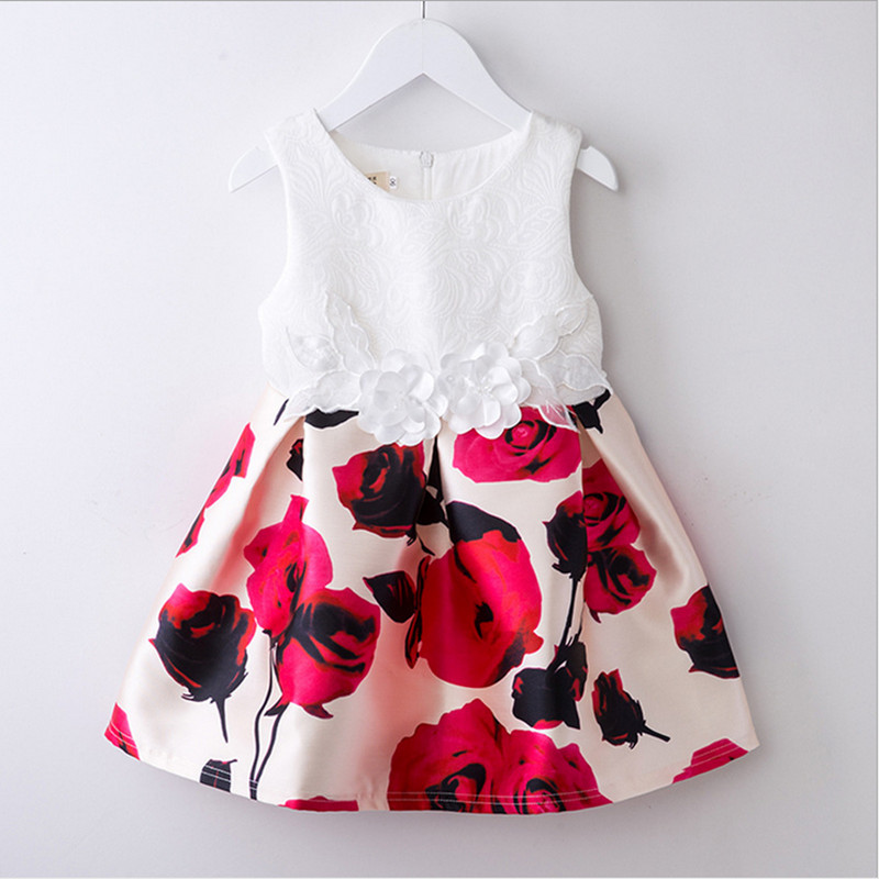 Manufacturer Wholesale good quality lovely princess sundress rose printed tutu baby girl party dress children frocks designs