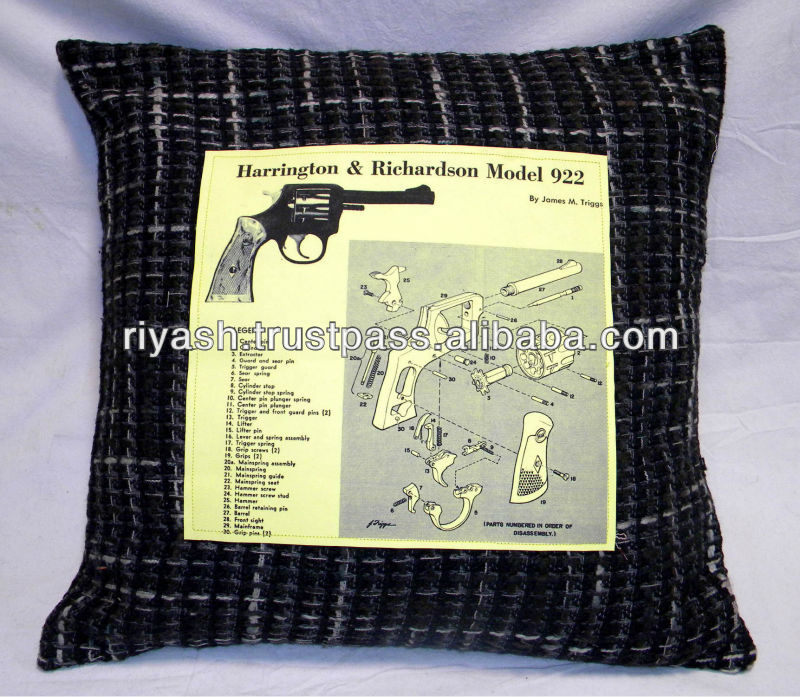 Woolen Fabric with Custom Image Printed Patch stitched Cushion Cover - 45 Cm.Sq.