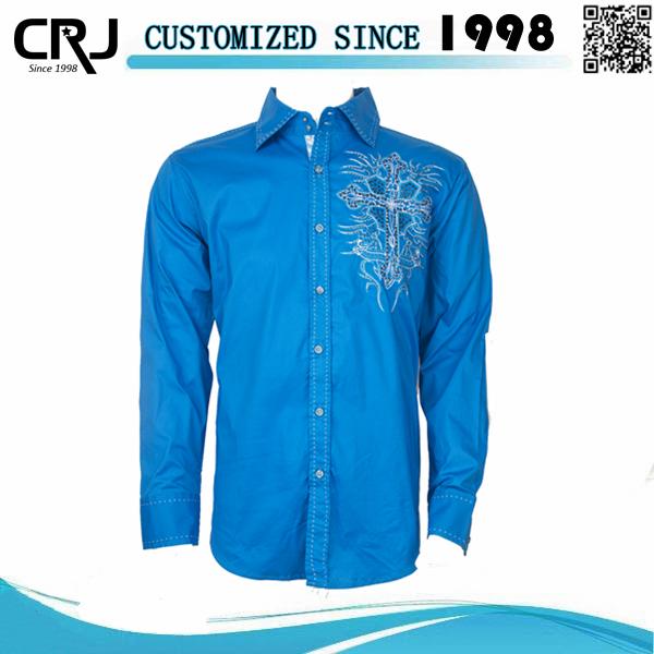 custom slim fit poplin plain embroidered dress shirts for