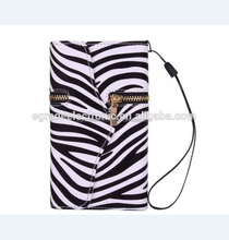 Wholesale Zebra Zipper Wallet Leather Case Business Wallet Leather Case with Card Slot for Samsung S4 I9500, I9300,I8190,I9190