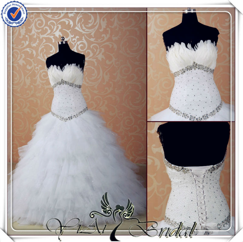 JJ3527 Ball Gown feather china custom made wedding dress with pearl & diamond
