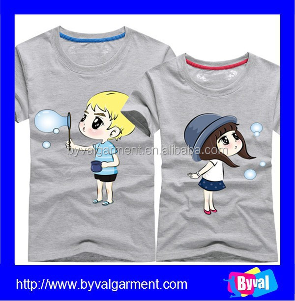 China Online Shopping High Quality Printing Cute Pattern Couple T-shirt for Promotion