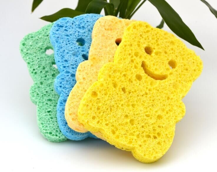 2017 China Wholesale Natural Dish Washing Cleaning Custom Shape Cloth Block Bulk Compressed Cellulose Sponge For Washing Dishes