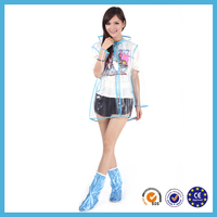 EVA eco-friendly waterproof plastic lady fashion rainwear