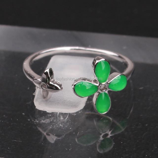 2016 latest design ring jewellery white gold cuff enamel four-leaf clover orbit ring