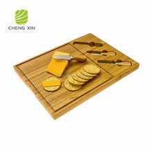 2018 new design High Quality 100% natural bamboo cheese cutting board with knife set