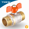 butterfly plastic handle hpb57-3 DN15 sand blasting DN15 double union with full port copper screw cap brass ball valve for water