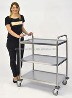 3 Tier Service Trolley, Stainless Steel Assembled/Knock-Down Serving Cart, Dining Cart, Round Tube(KTR-03)