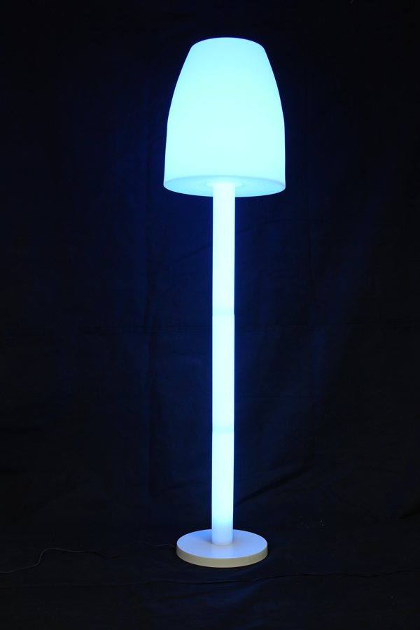White finish rechargeable indoor and outdoor big color changing floor lamp
