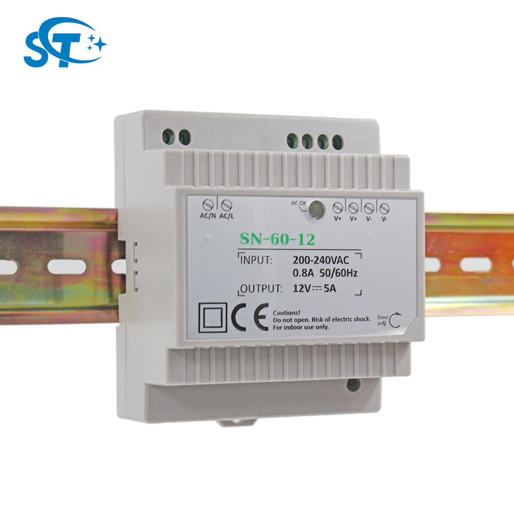 Top Brand High Quality LED Drivers AC 200-240V to DC 12V 60W DIN Rail Power Supply for CCTV Security Camera and Video Door Phone