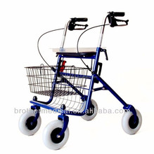 aluminum wheel walker with 2 wheels and plastic hand for grab