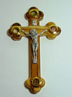 Handcrafted Olive Wood Cross With Silver Plate Crucifix and 4 Vials Biblical Elements
