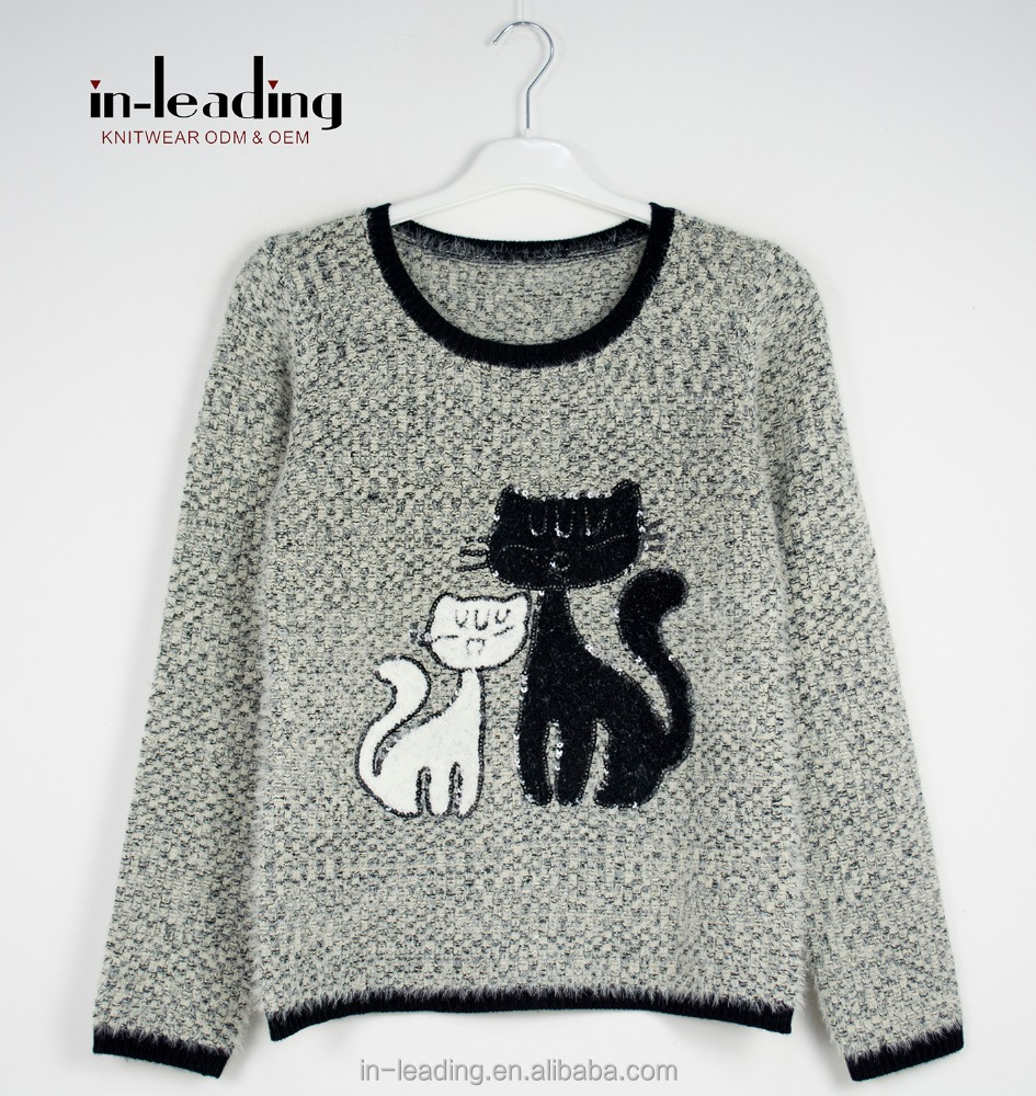 Ladies knitwear jumper with two cats