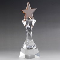 Golden Crystal star trophy with custom sizes fast delivery