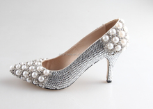 BS913 Custom Handmade Silver Rhinestones Pearl Wedding Shoes Zapatos Mujer Women Shoes High Heels Bridal Shoes