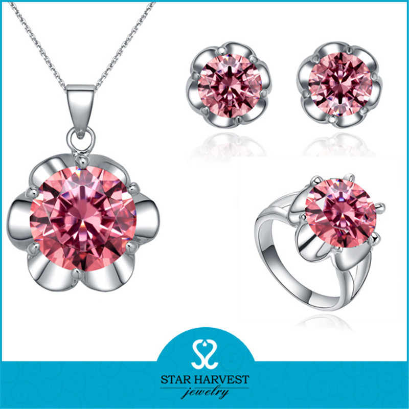 Customed flower shaped red color crystal avenue wholesale jewelry
