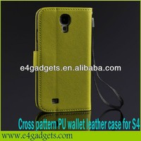 High quality Cross pattern leather case for phone case s4,phone case for Samsung galaxy S4 i9500