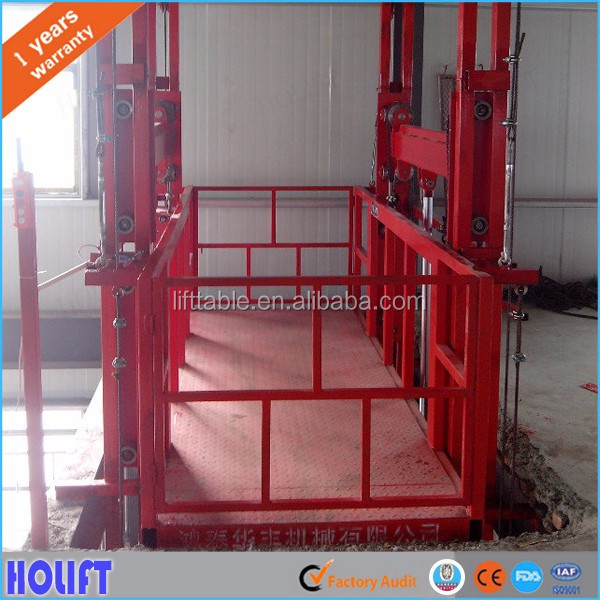 CE certificated warehouse vertical guide rail lift small hydraulic lift table