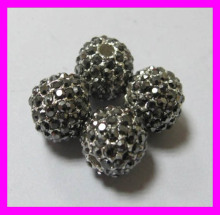Hot-selling high quality alloy pave beads crystal ball for jewelry making LF017