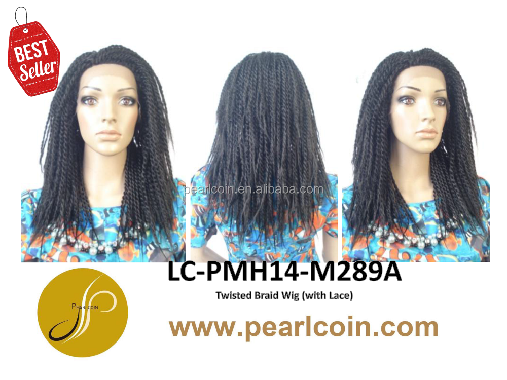 Hot Sale Superior Medium 1B 100% Synthetic Fiber Hair Twisted Braid Flame Retardant Lace Wigs