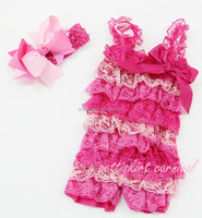 Newborn Baby Girls/Kids Light Pink Green Lace Petti Rompers Straps Bow Headband BC2881