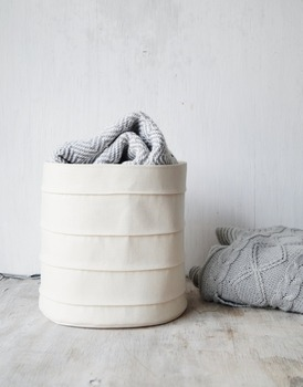 Eco cotton canvas white laundry dirty cloth storage basket