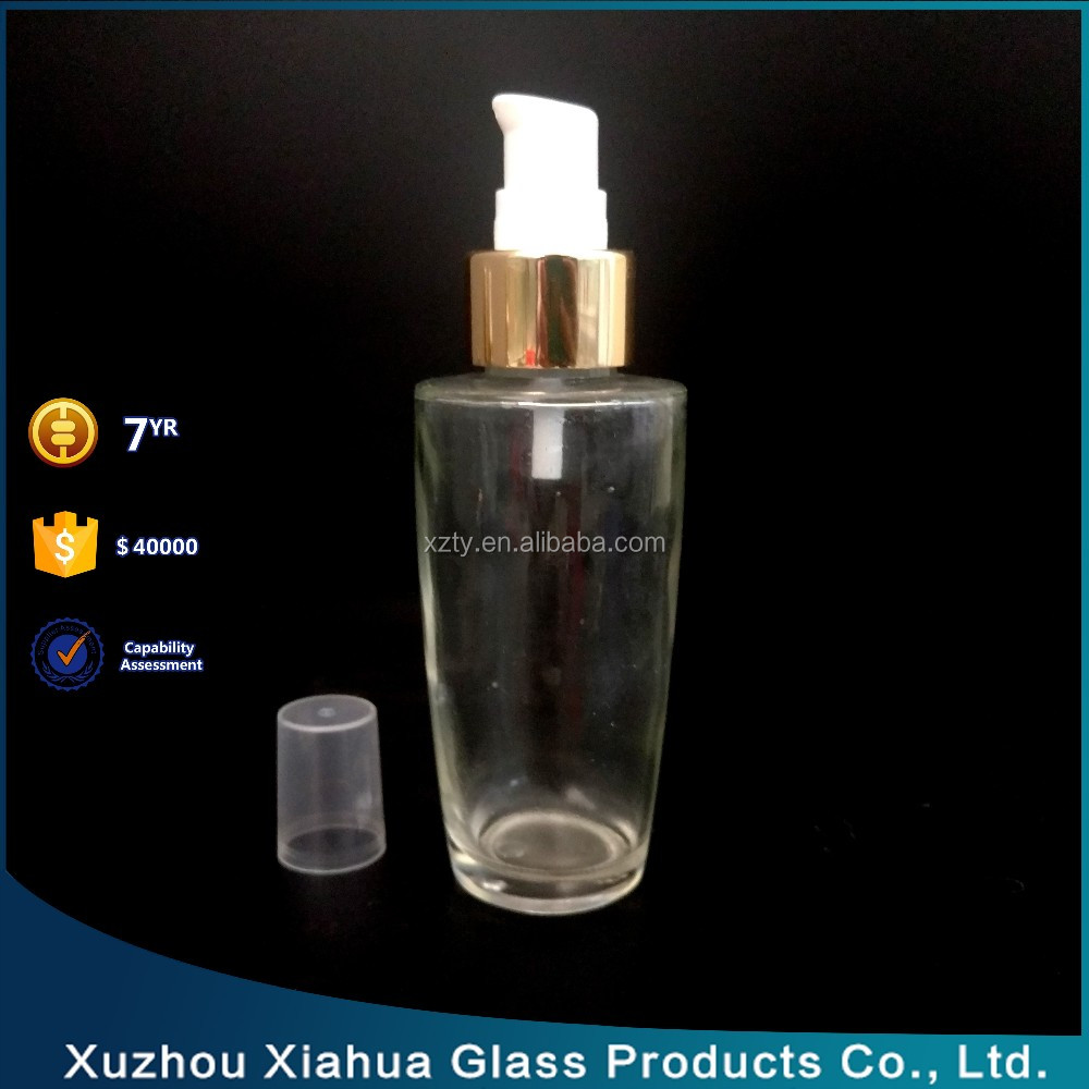 High White Cosmetic Packaging Use Serial Glass Lotion Bottle With Different Pump