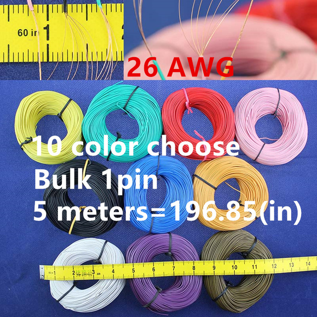Bulk 1pin 5 metres super flexible 26AWG PVC insulated  Wire Electric cable, LED cable, DIY Connect 10 color choose