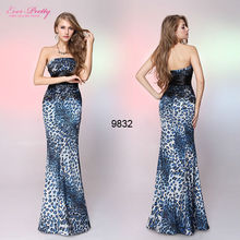 09832BL Strapless Blues Animal Printed Satin Fishtail Western Bridesmaid Dress